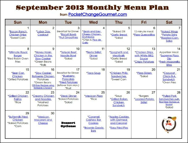 8 Images of Printable Monthly Menu