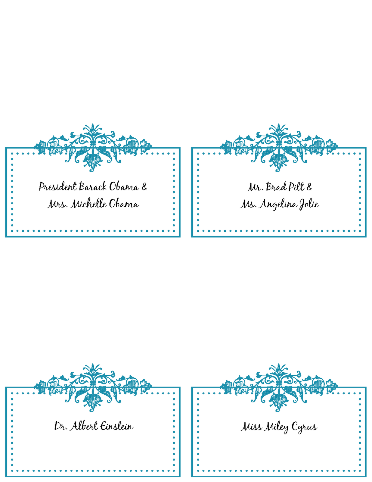 6 best images of free printable placecards wedding place for Free place card template