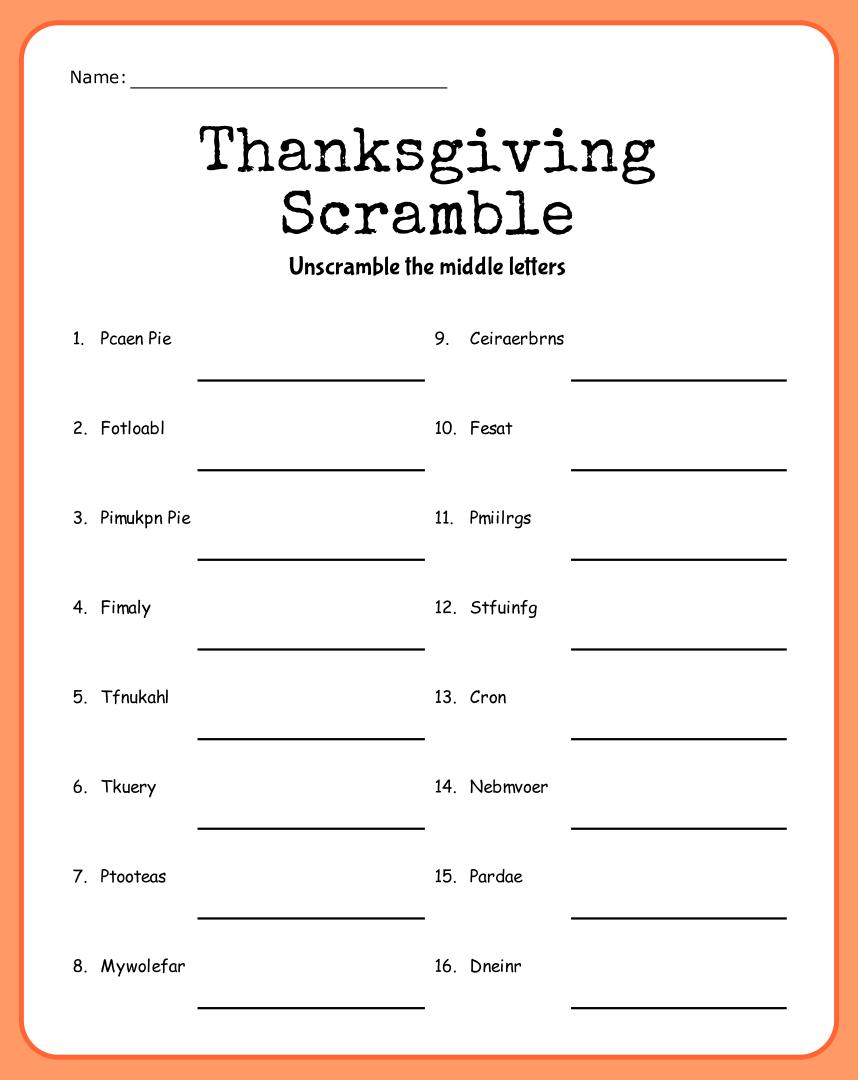 Printable Thanksgiving Word Scramble Puzzles