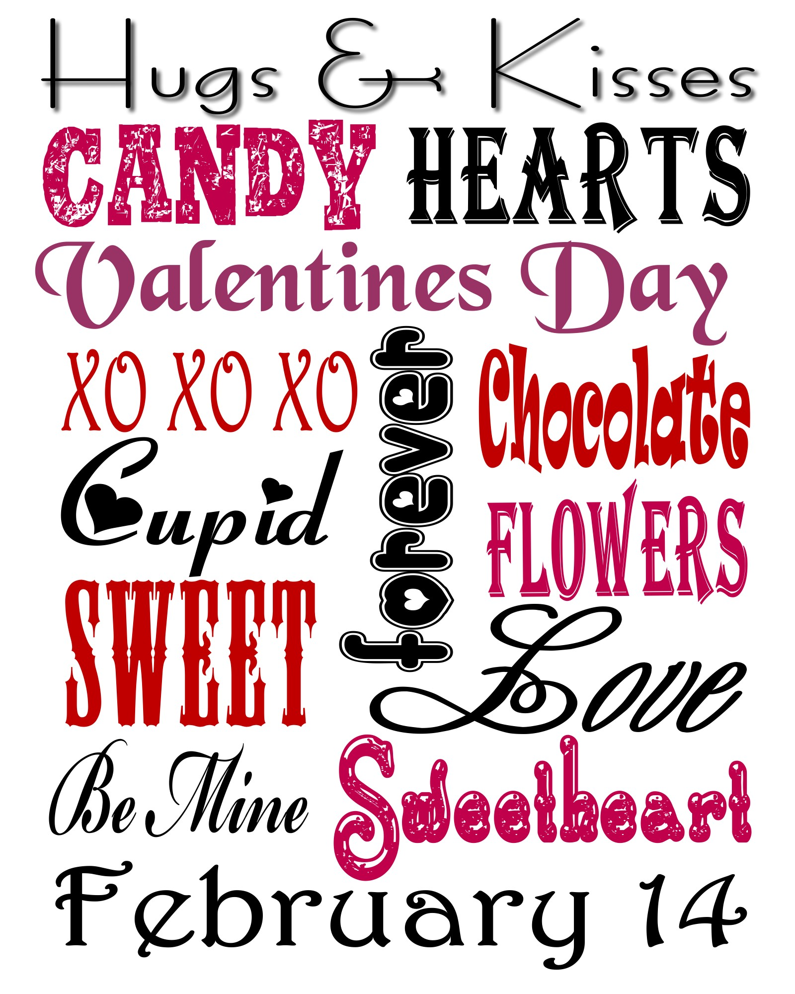 9 Images of Valentine Subway Art Printables