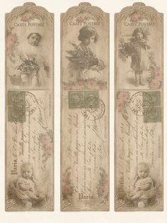 9 Images of Blank Printable Vintage Bookmarks