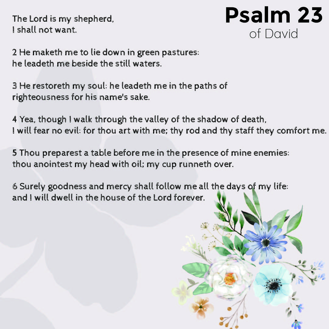 7 Images of 23 Psalms Prayer Printable