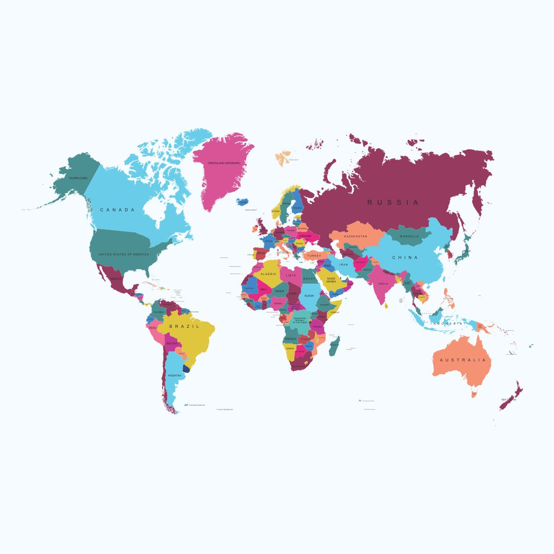 Simple World Map with Countries Labeled