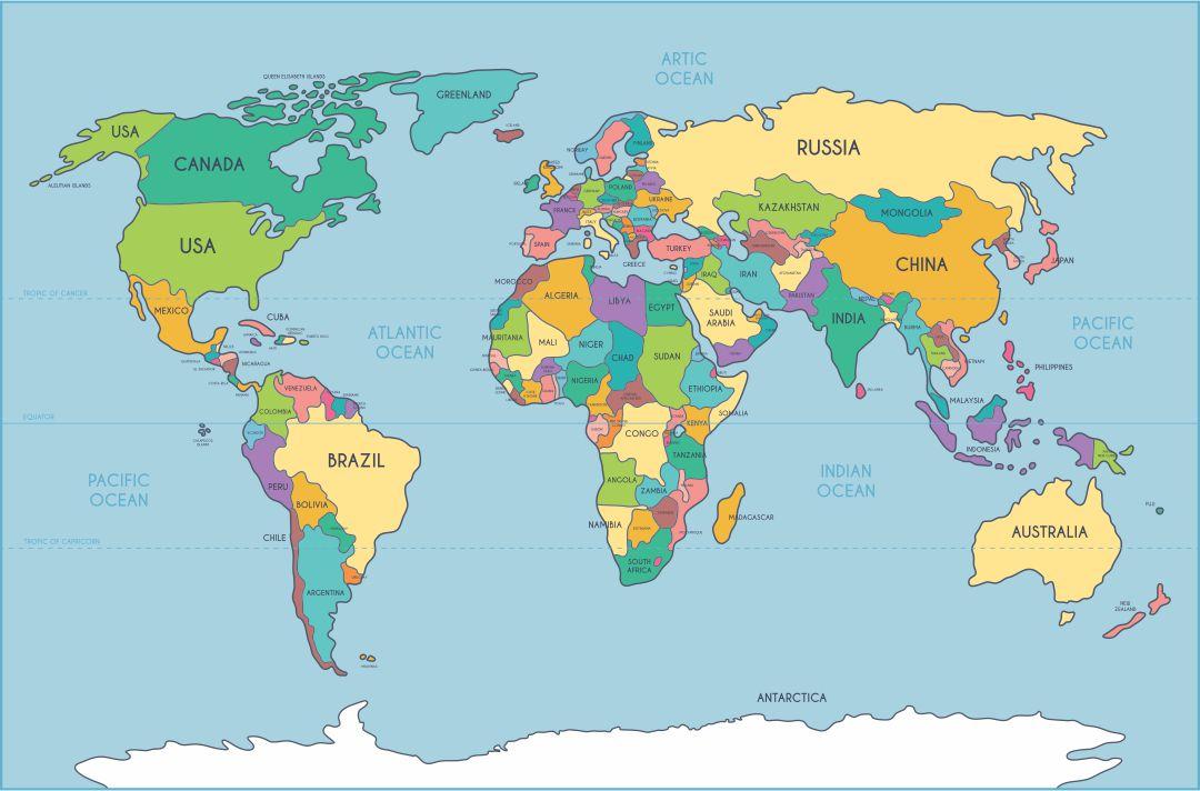 Image of: 4 Best Simple World Map Printable Printablee Com