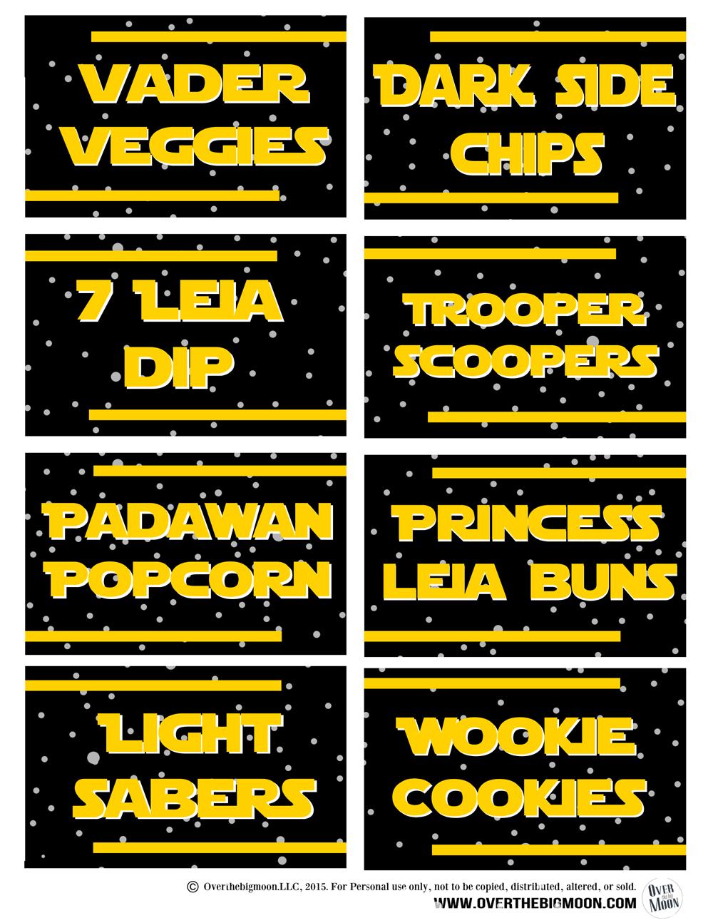 4 Images of Star Wars Food Label Printables