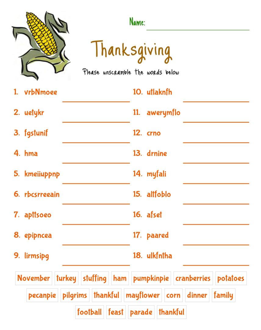 Thanksgiving Day Word Scramble