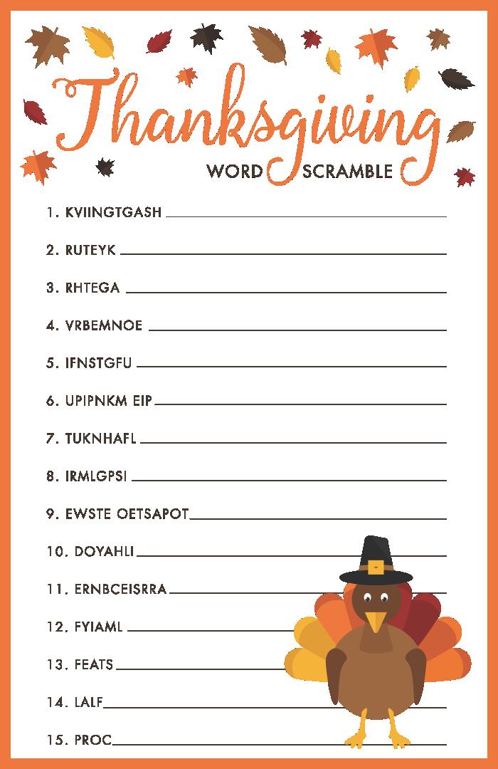 Thanksgiving Word Scramble Worksheet