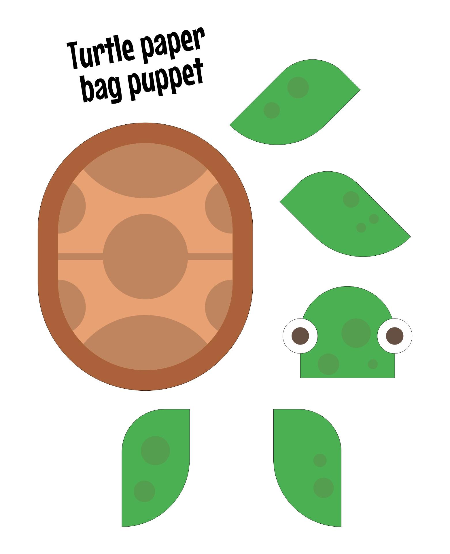 Turtle Paper Bag Puppet Printables