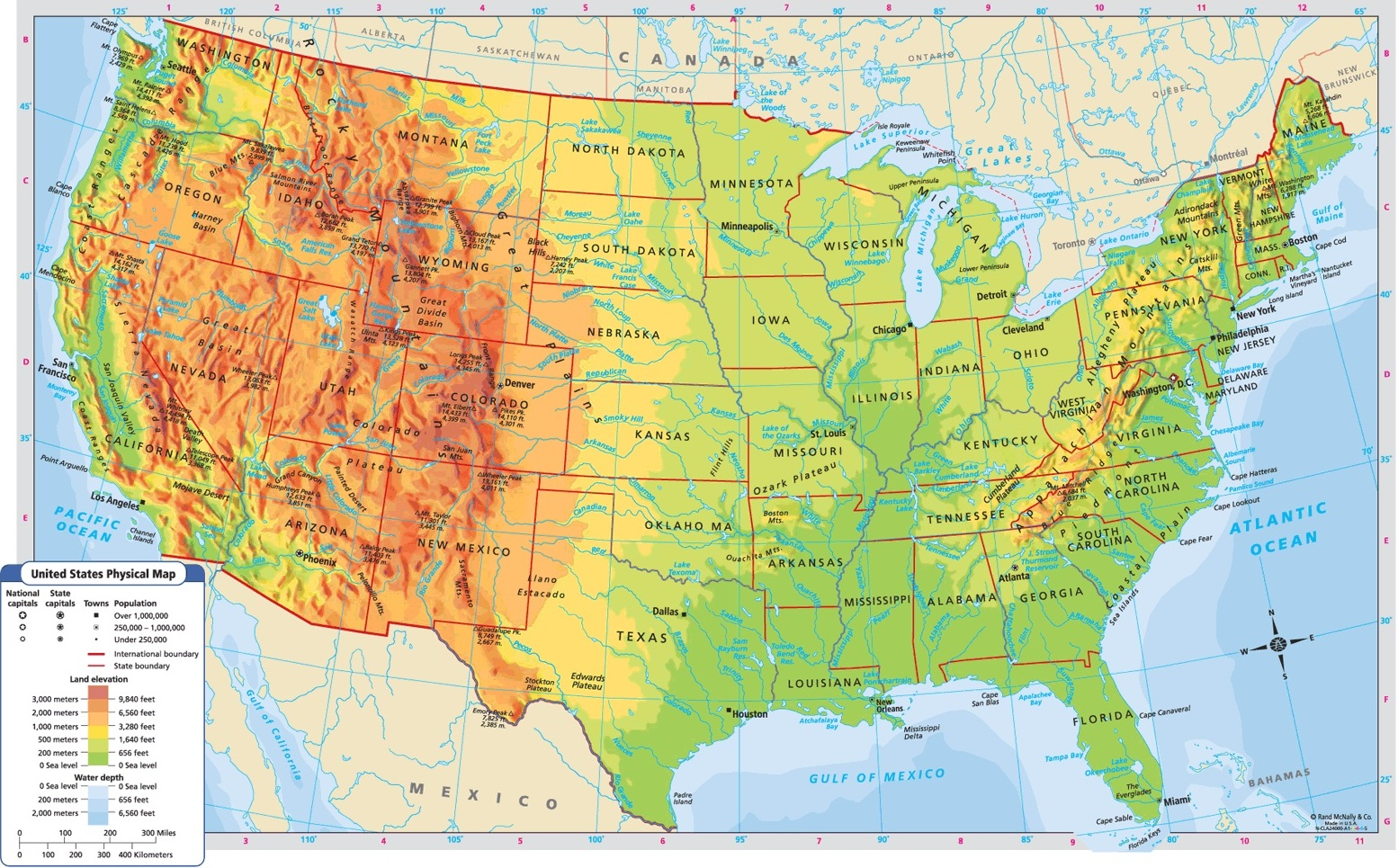 Image of: United States Of America Physical Features Map