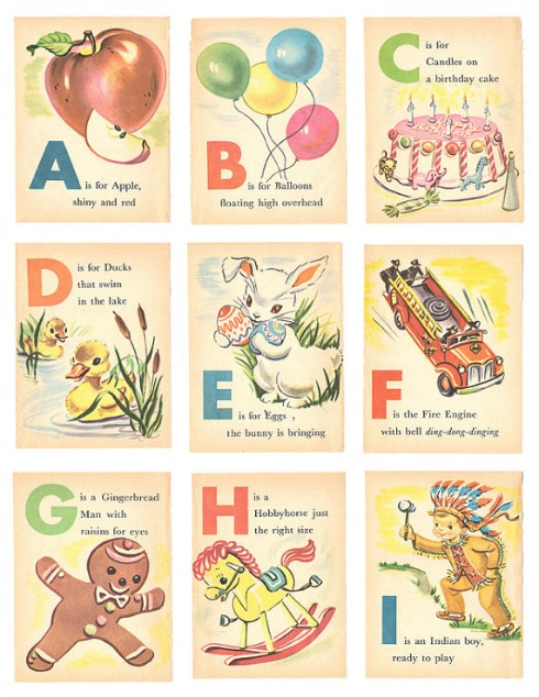 5 Images of Free Printable Vintage ABC Flash Cards