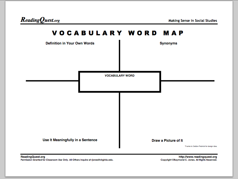 vocabulary graphic organizer templates 5 best images of vocabulary graphic organizers printable