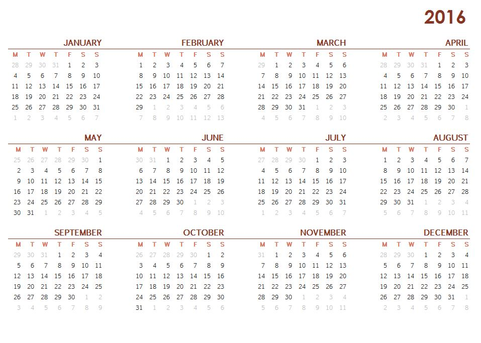 Year Calendar One Page Printable : Best images of calendar printable year at a glance