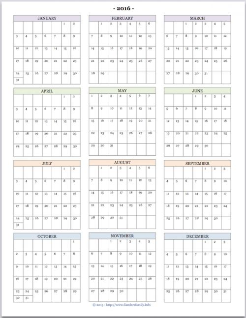 8 Images of Calendar 2016 Printable Year At A Glance