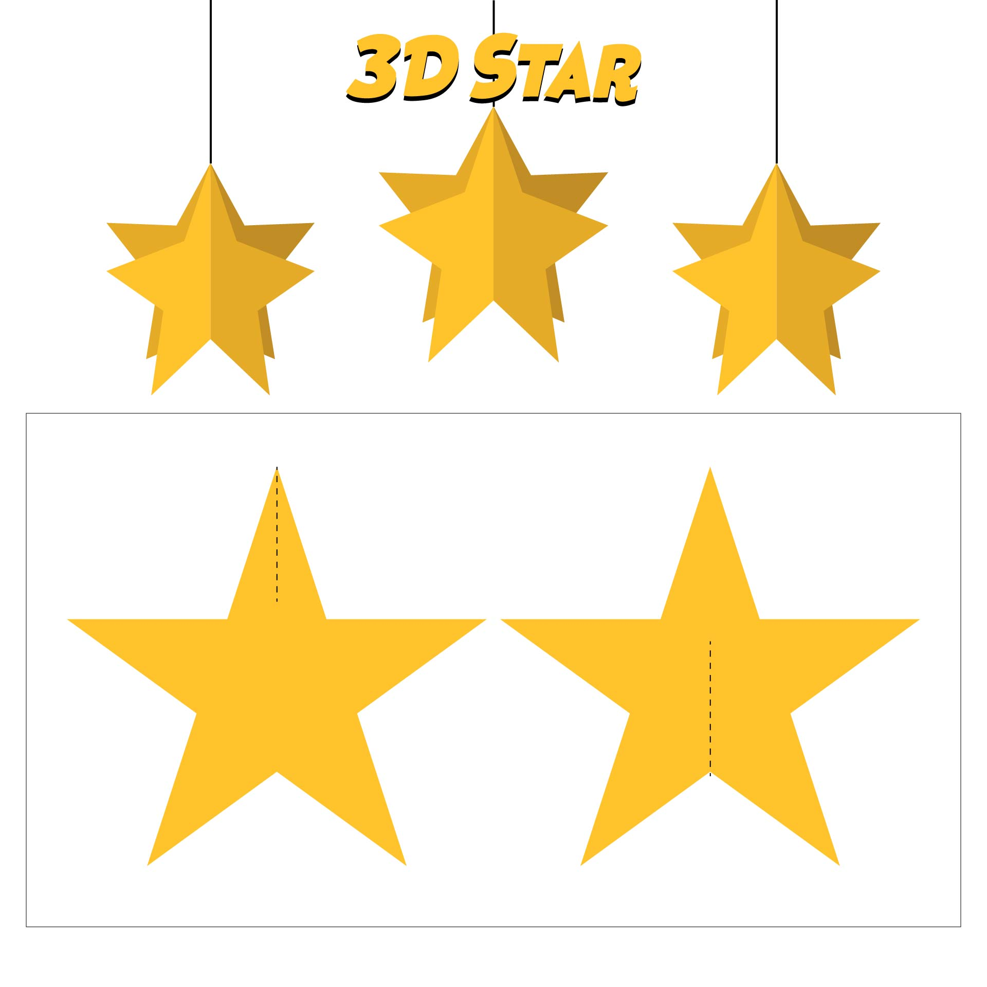 3D Star Ornament Template