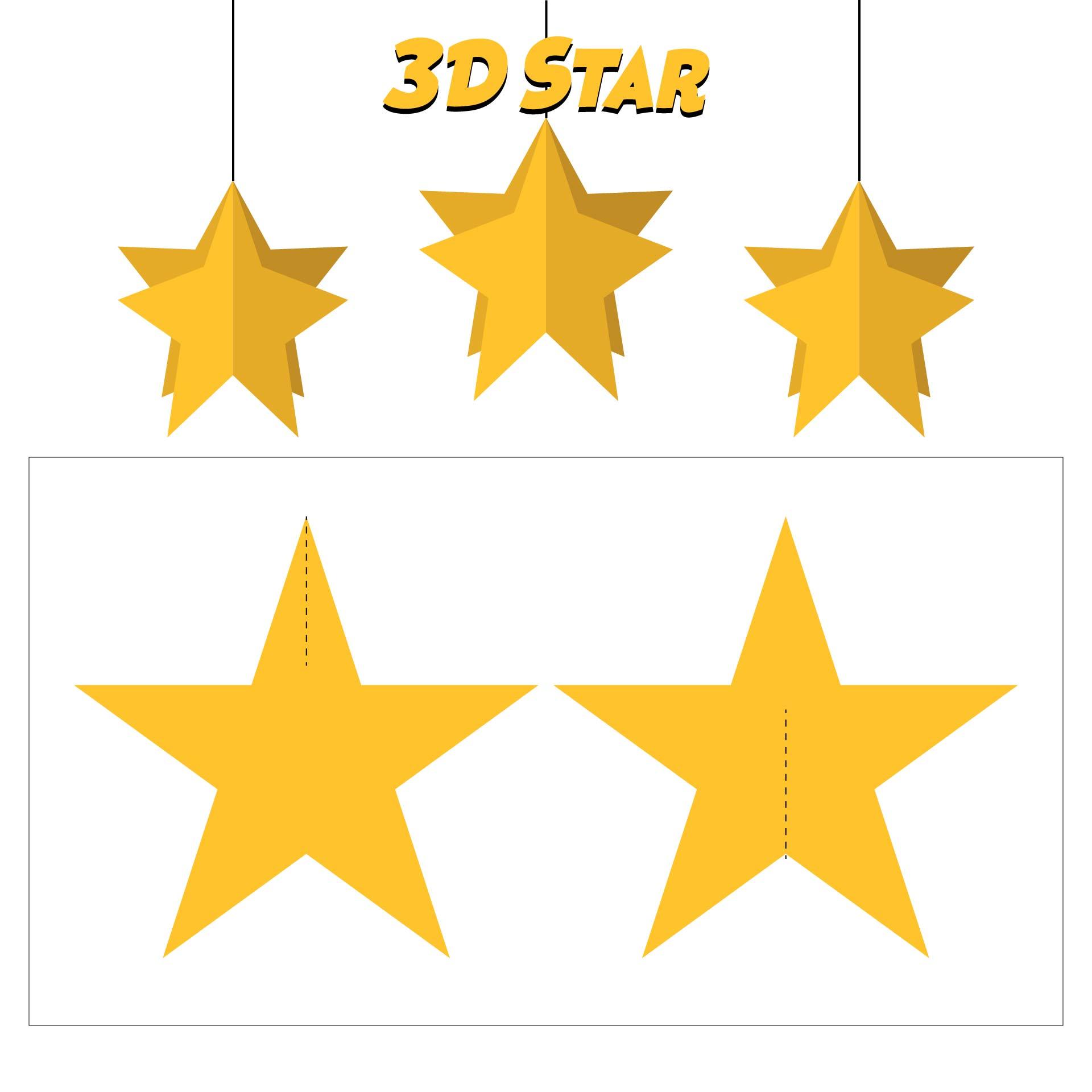 3D Star Ornament Template