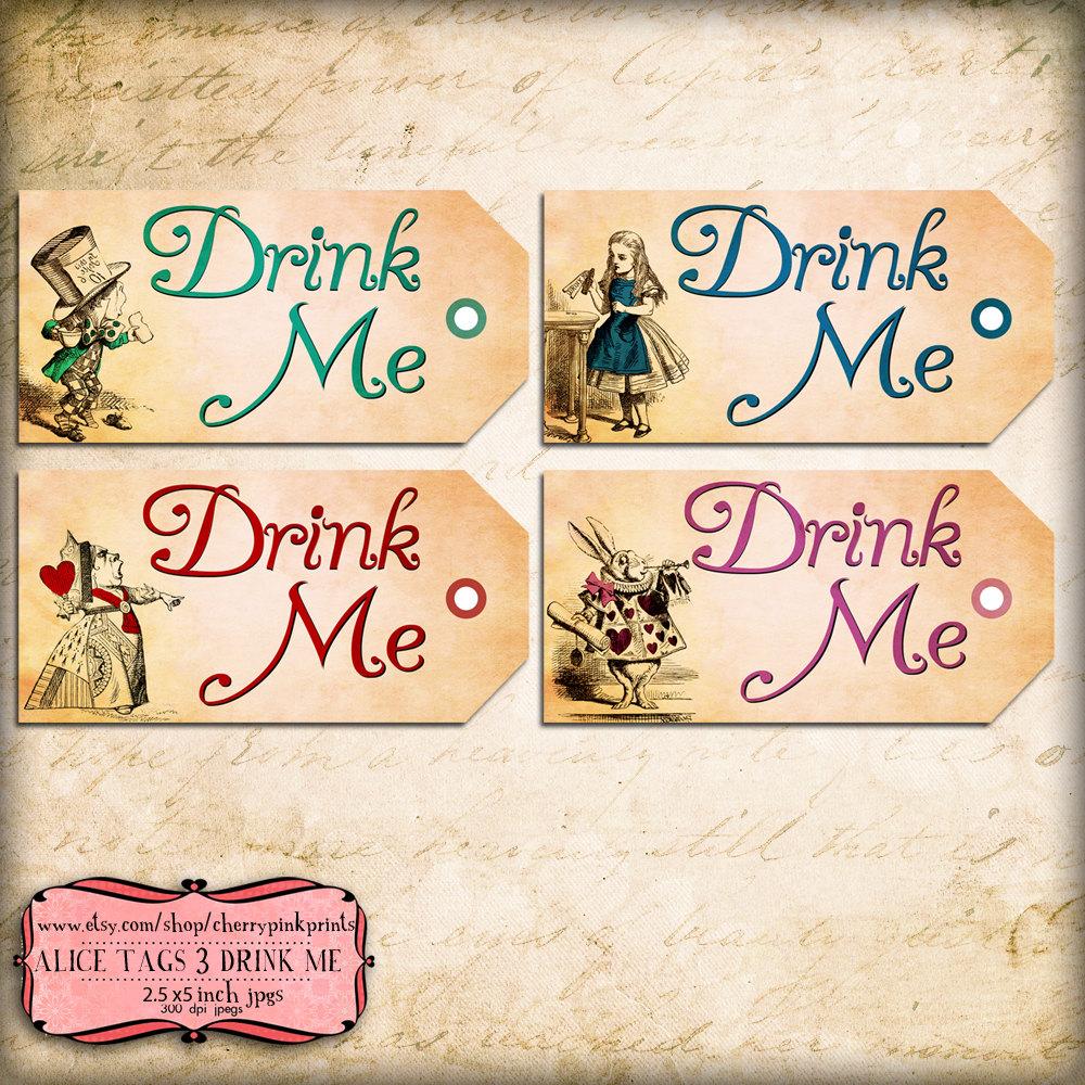 Alice in Wonderland Drink Me Labels