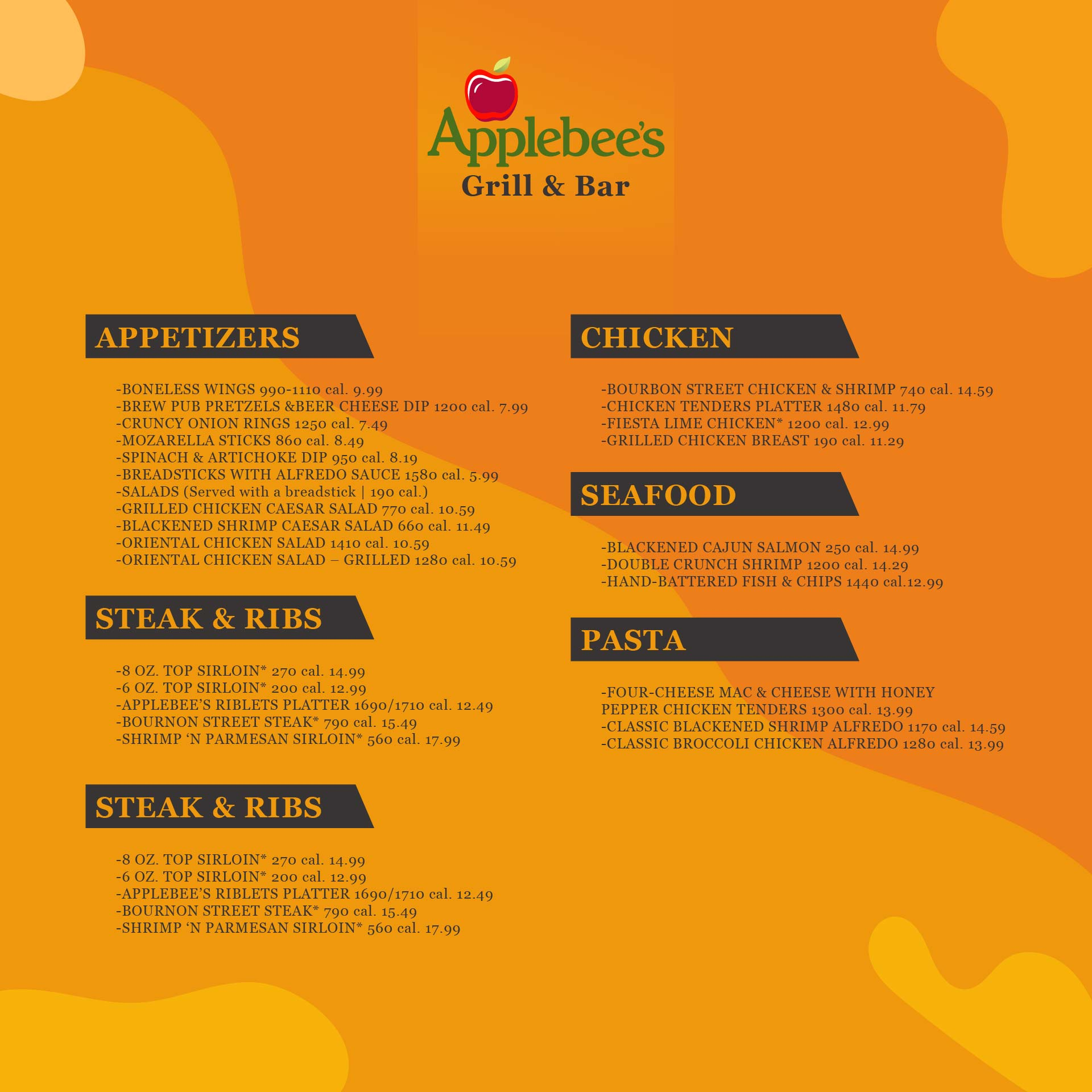 Applebees Menu Printable Version with Prices