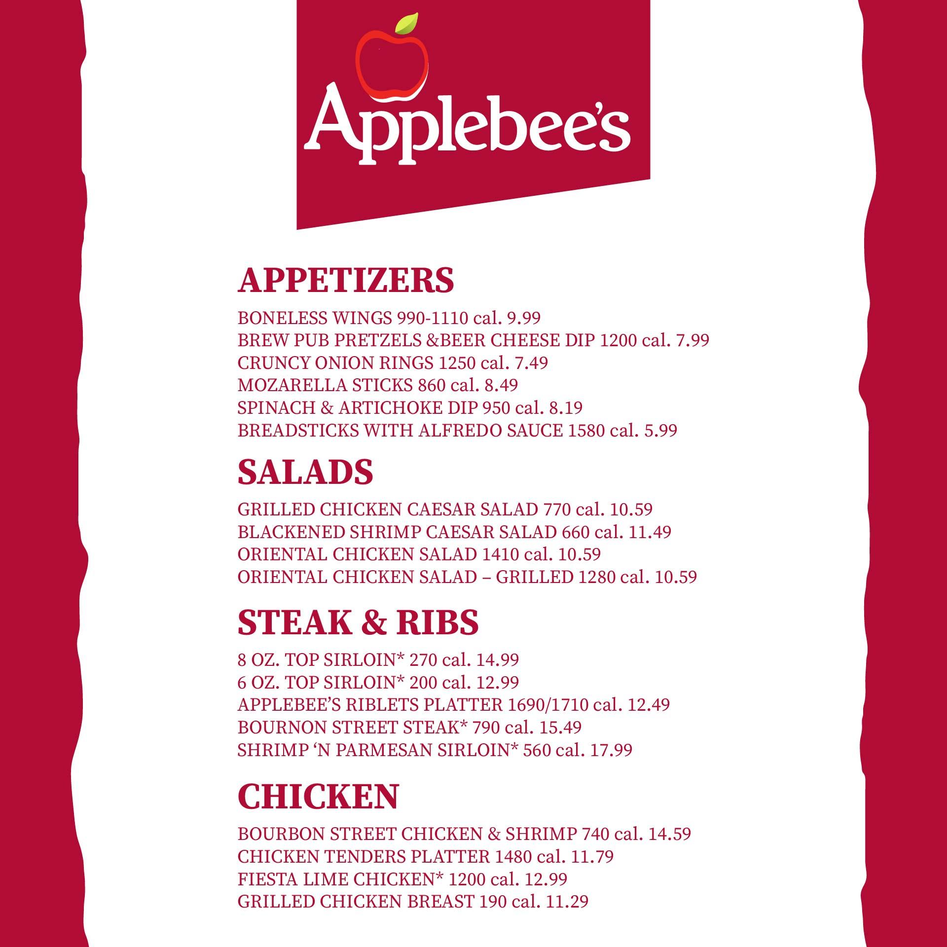 Applebees Menu with Prices