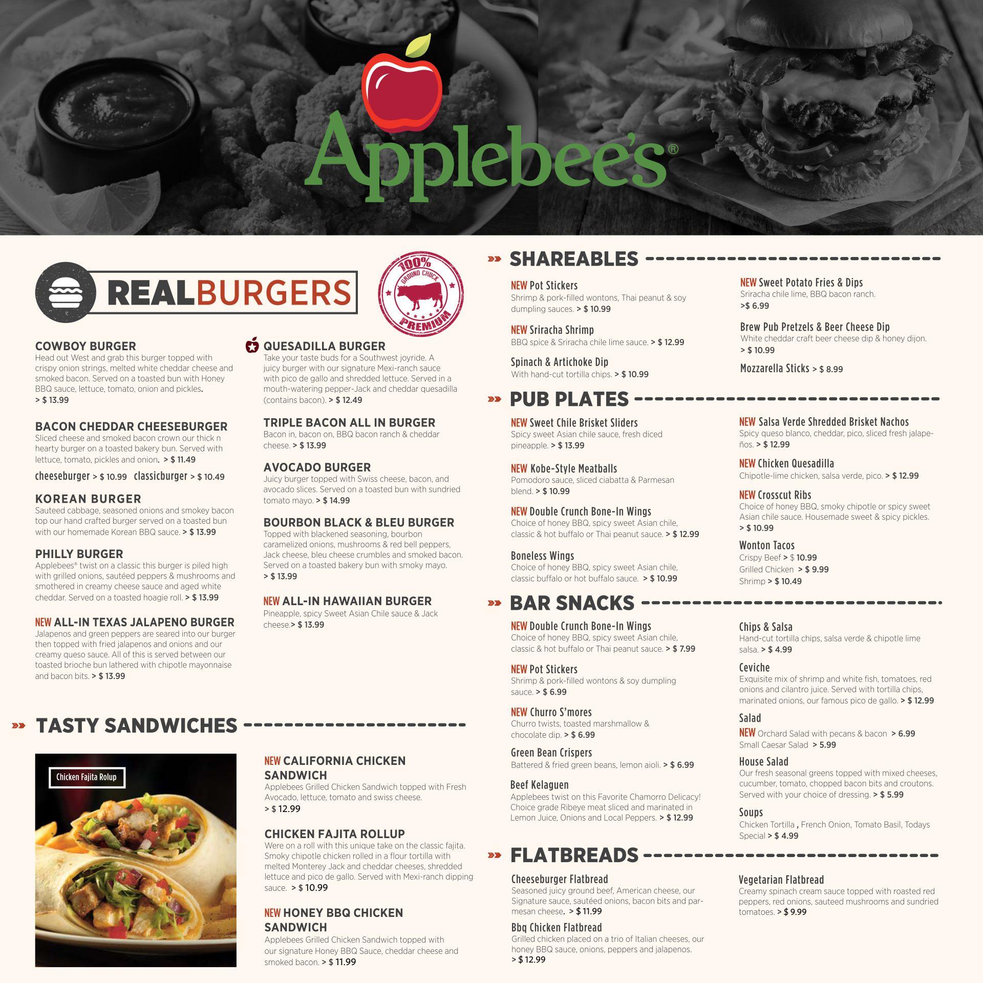 Applebees Printable Menu with Prices