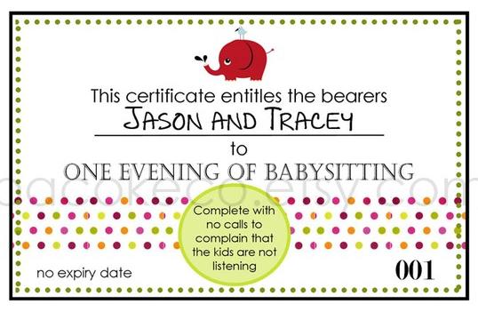 Pin free babysitting coupon on pinterest for Babysitting gift certificate