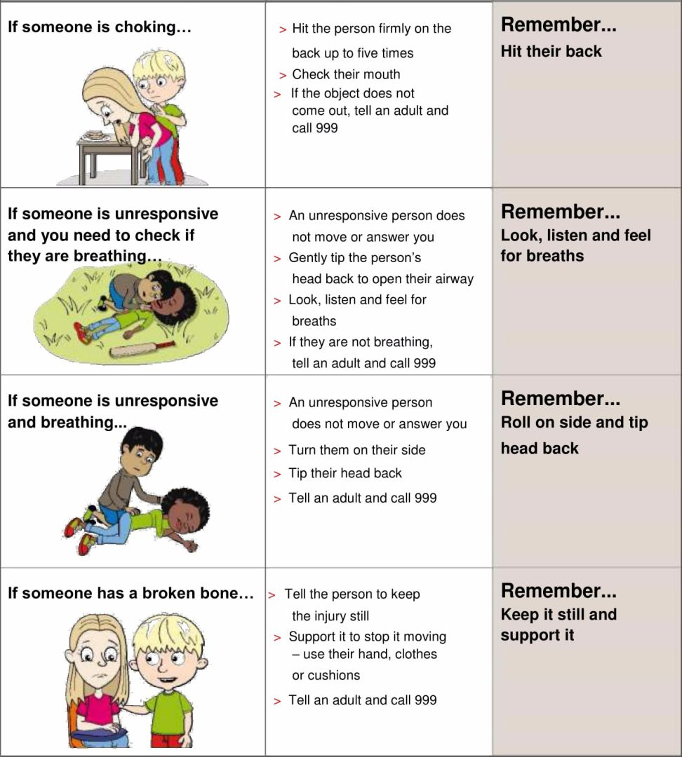 Basic First Aid Worksheets for Kids