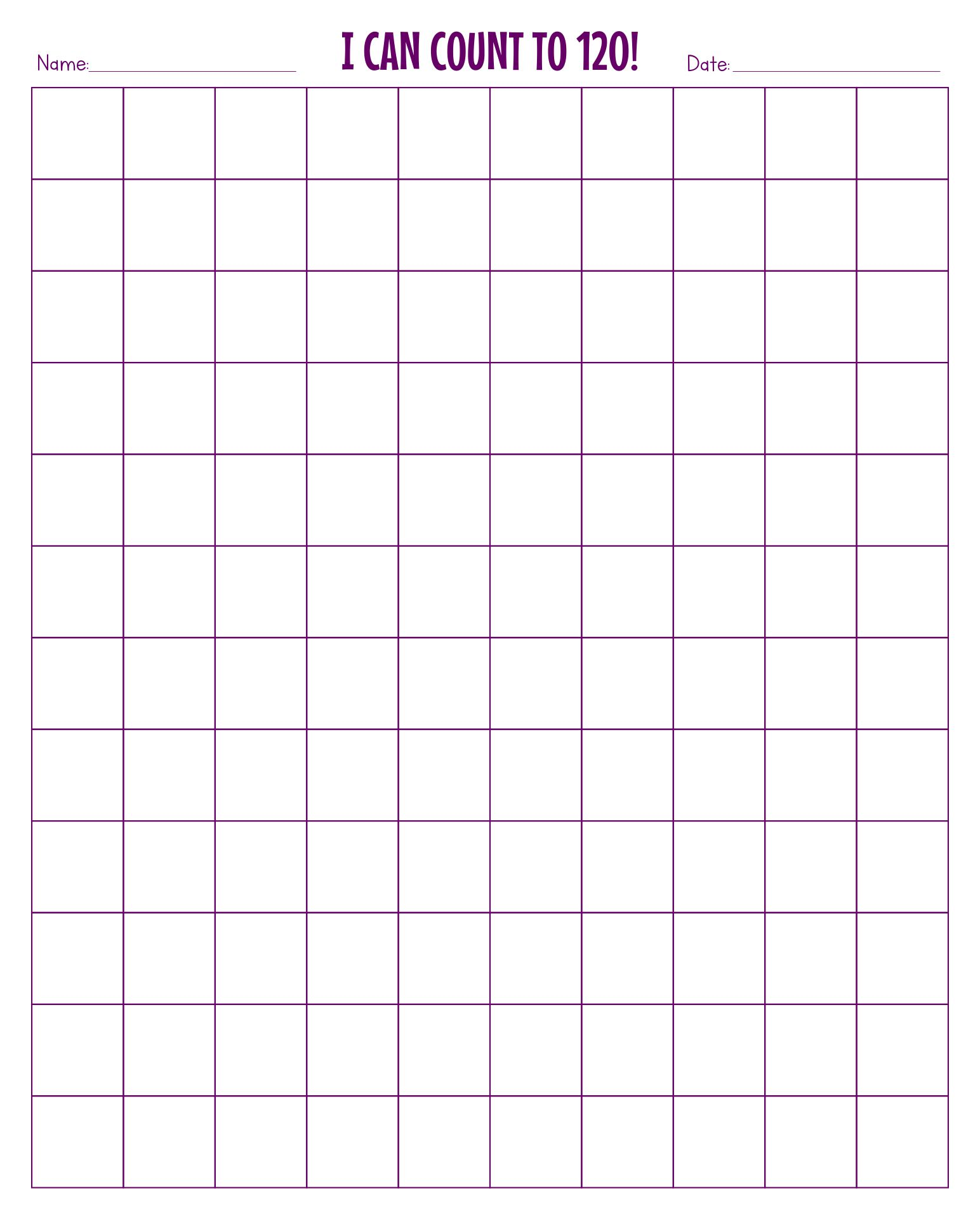 8 Images of Printable Blank 120 Chart