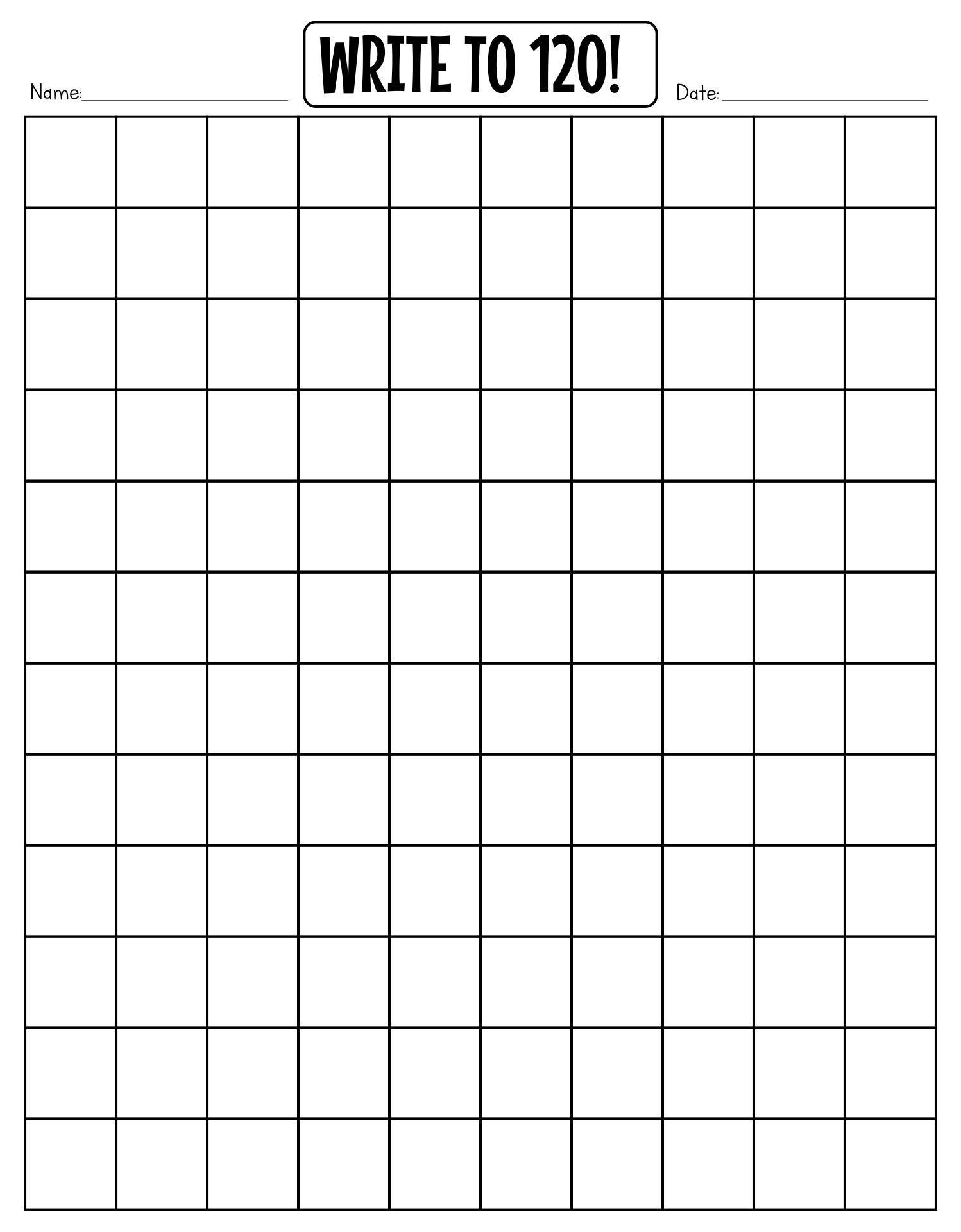 Blank Number Grid 1 120