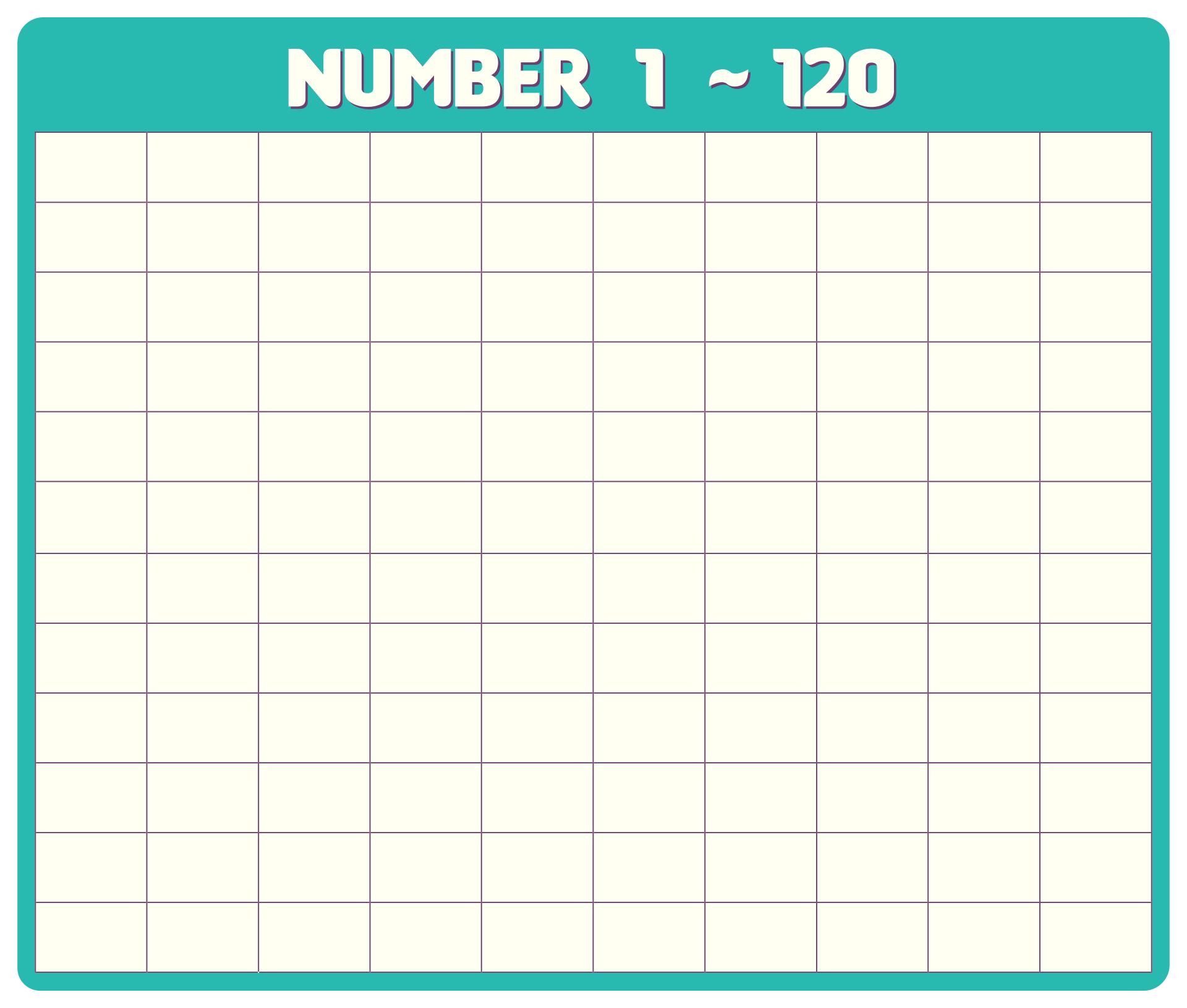 Blank Printable 120 Number Chart