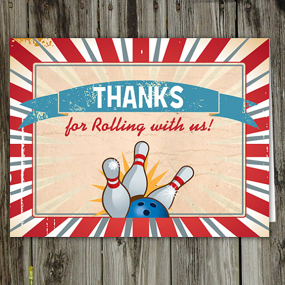 6 Images of Printable Bowling Thank You Cards