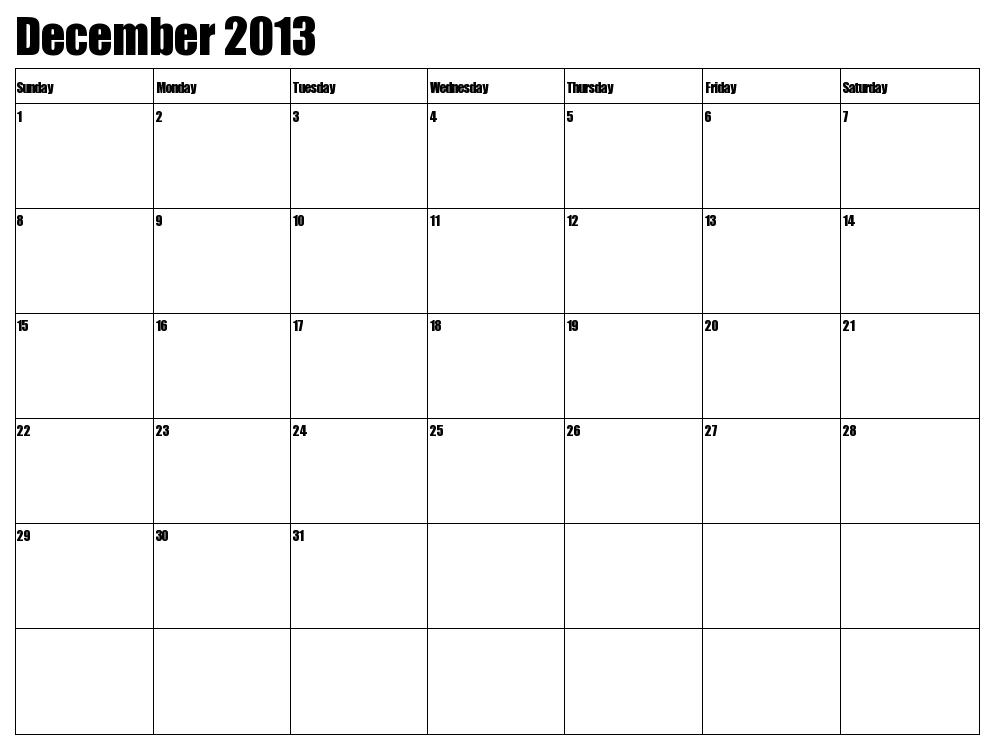 7 best images of large printable calendar december 2013 december 2013 calendar printable. Black Bedroom Furniture Sets. Home Design Ideas