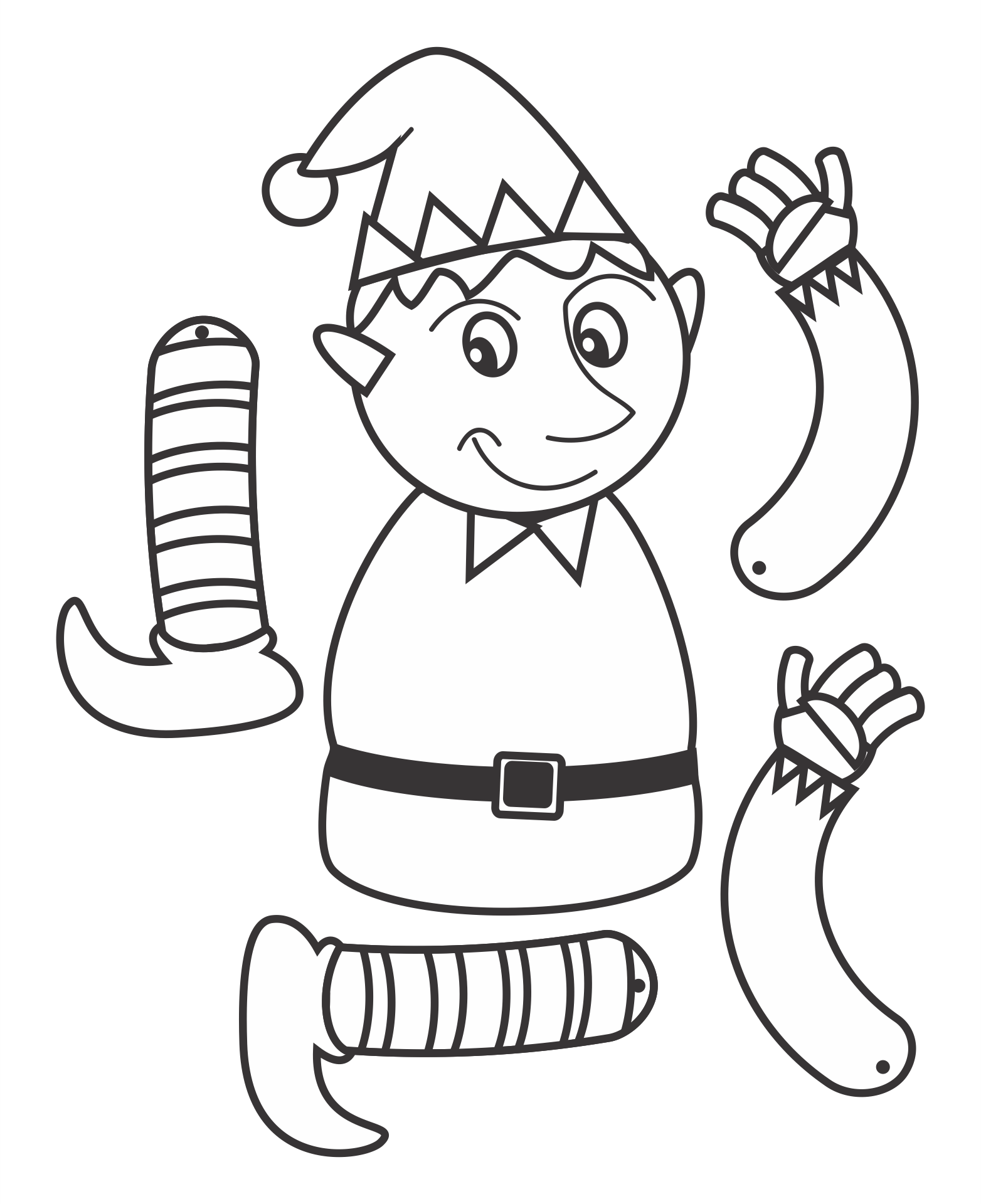 Christmas Elf Cut Out Template