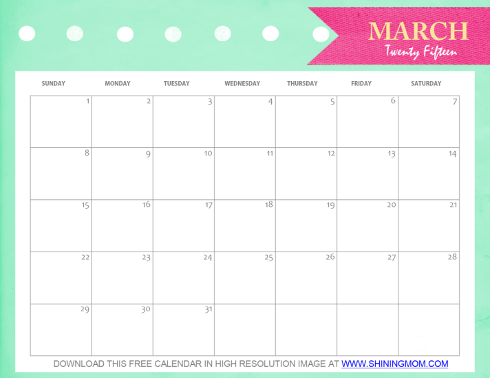 6 Images of Cute Free Printable Monthly Calendar March 2016