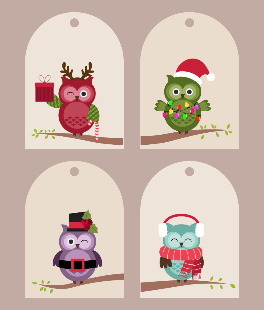 Cute Owl Printable Christmas Tags
