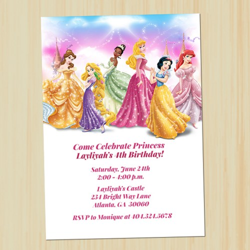 7 Images of Disney Princess Invitations Printable Free
