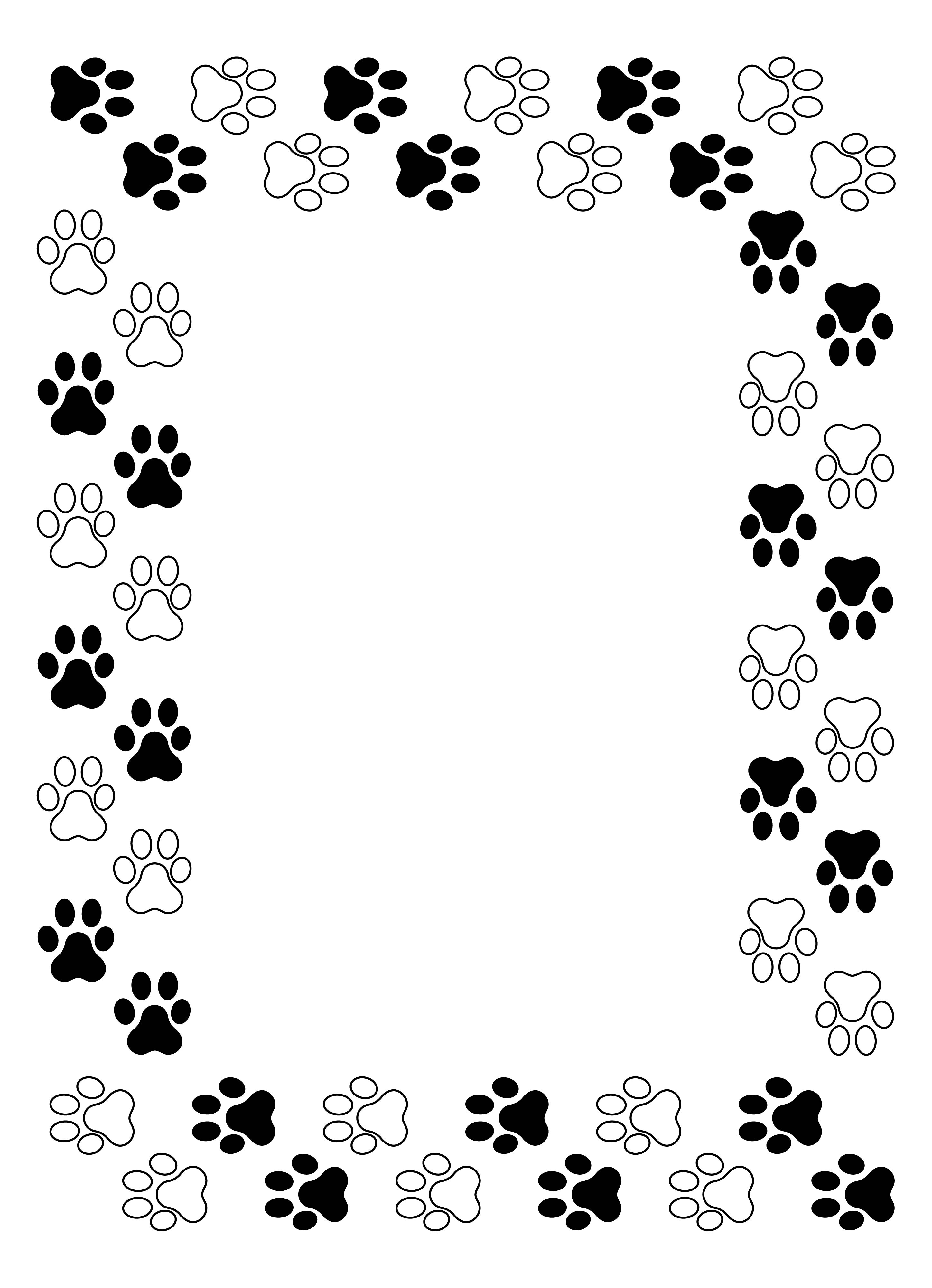 Dog Border Writing Paper