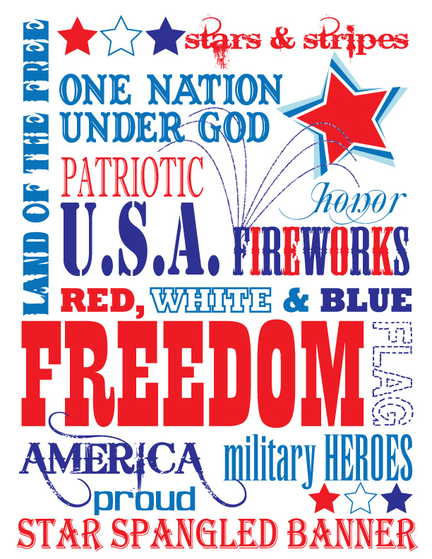 5 Images of Free Printable Patriotic Subway Art