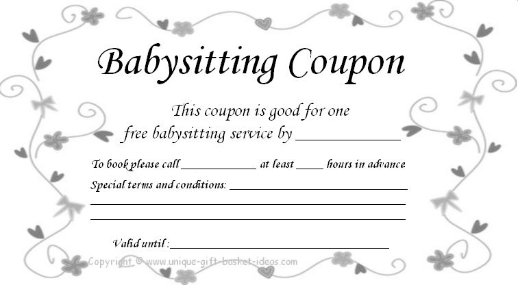 9 Images of Printable Babysitting Voucher