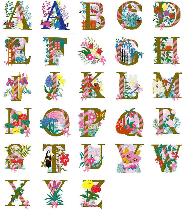 6 Images of Alphabet Embroidery Patterns Free Printable