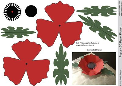 5 Images of Paper Poppy Flower Pattern Printable