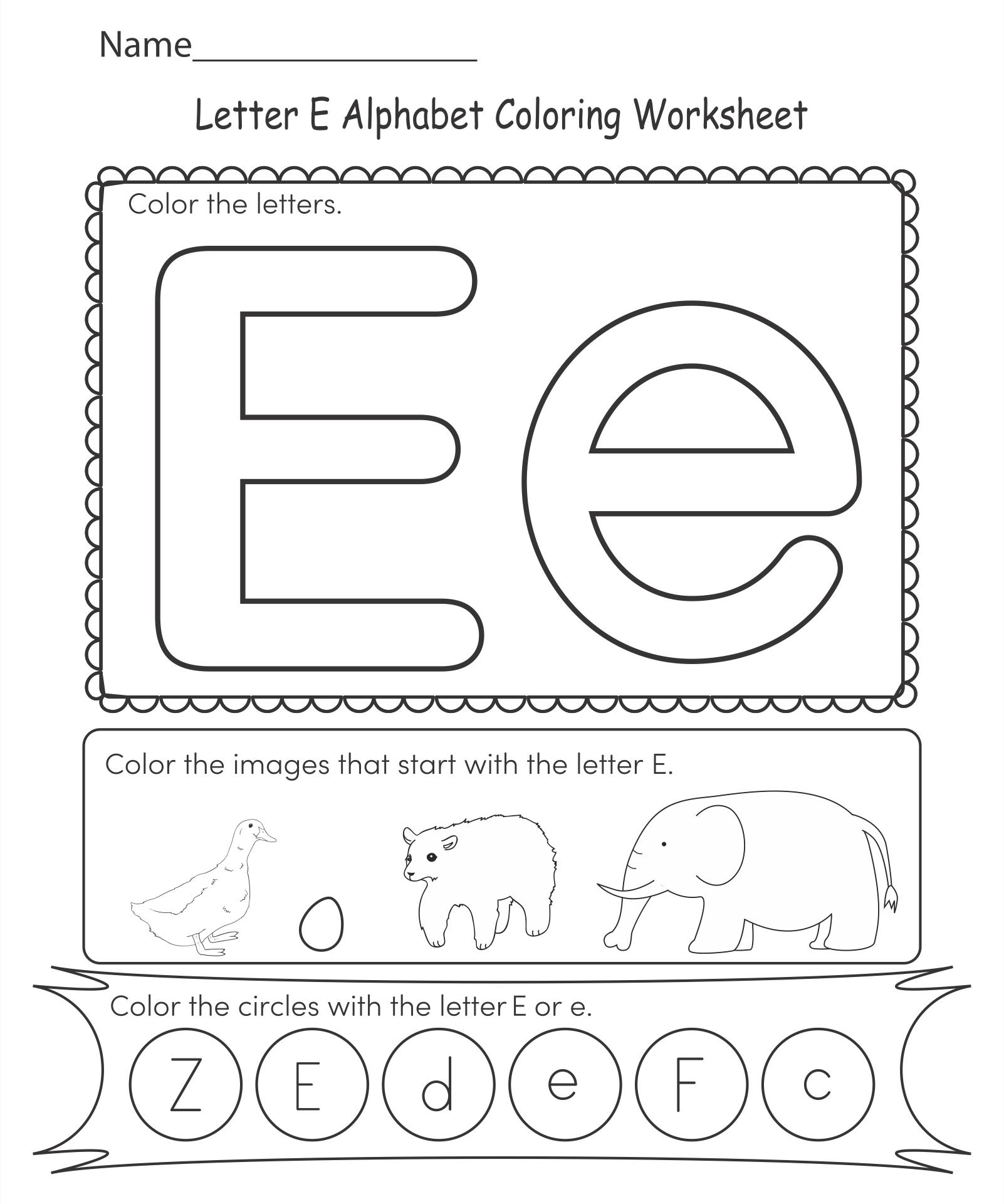 Printable Alphabet Letter E Worksheets