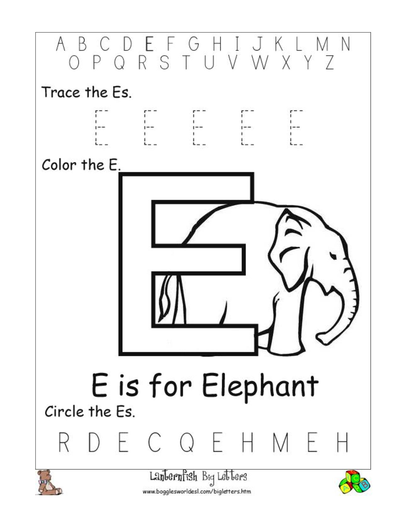 6 Best Images of Printable Preschool Worksheets Letter E ...