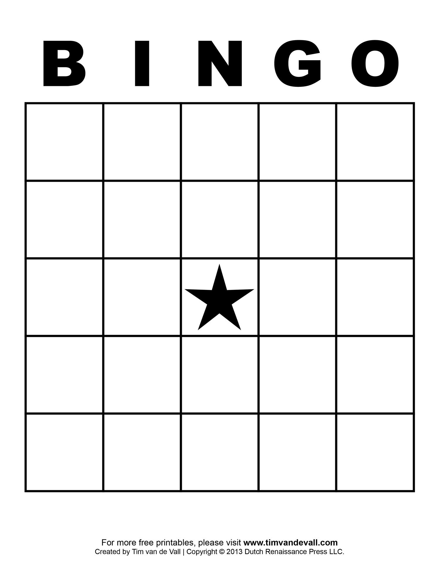 5 Images of Free Printable Blank Bingo