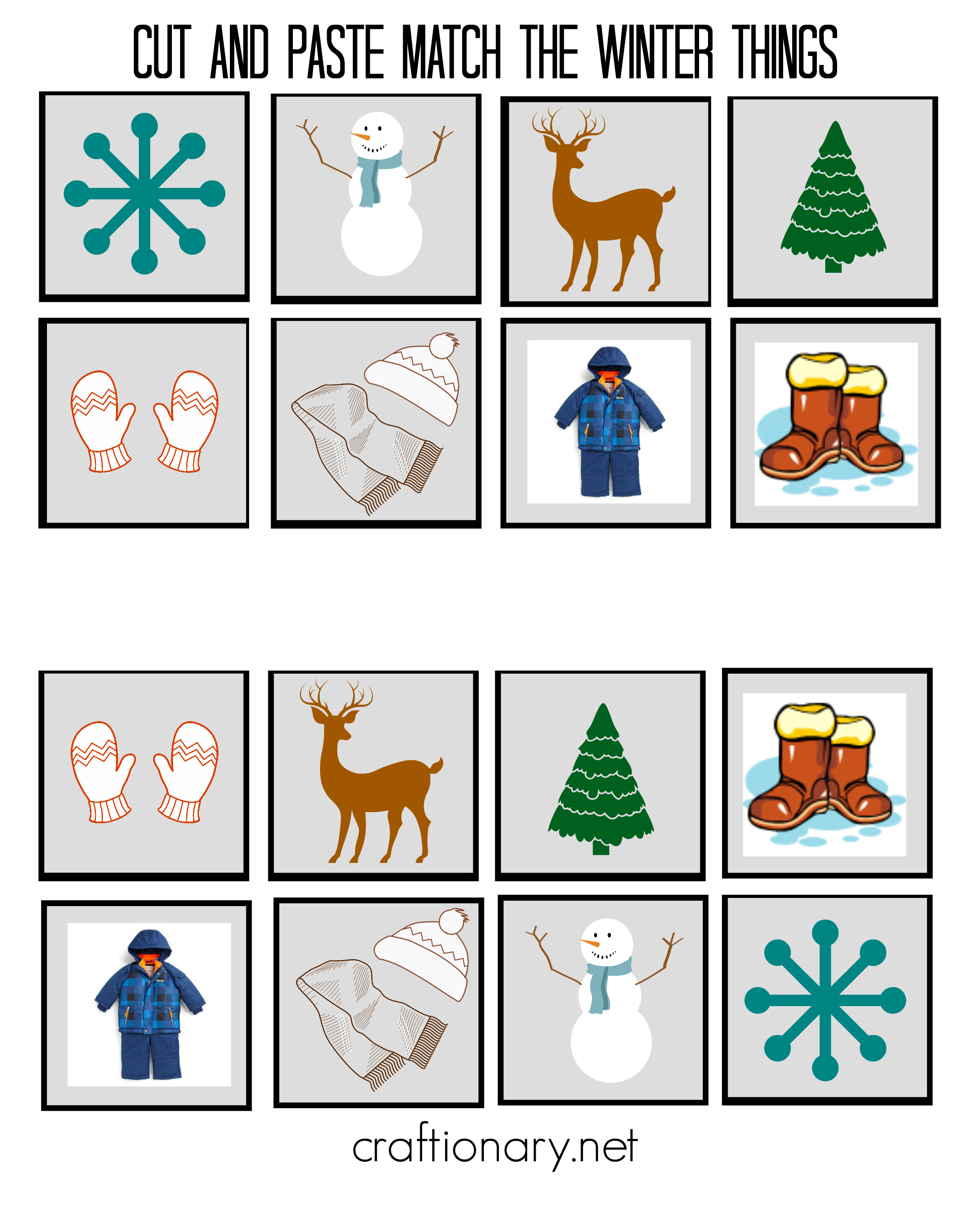 5 Images of Free Printable Winter Cut And Paste