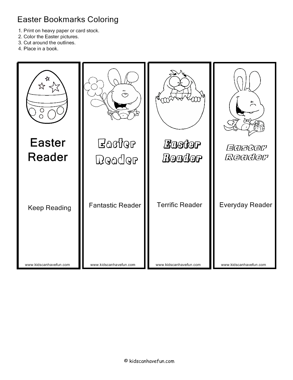 7 Images of Printable Easter Bookmarks To Color