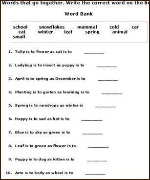 Free Printable English Worksheets