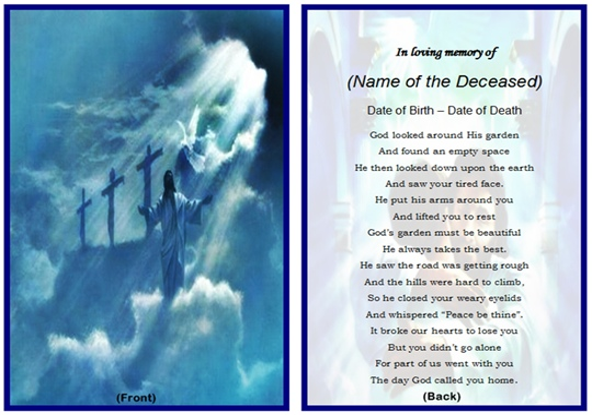 Effortless image regarding free printable funeral prayer card template