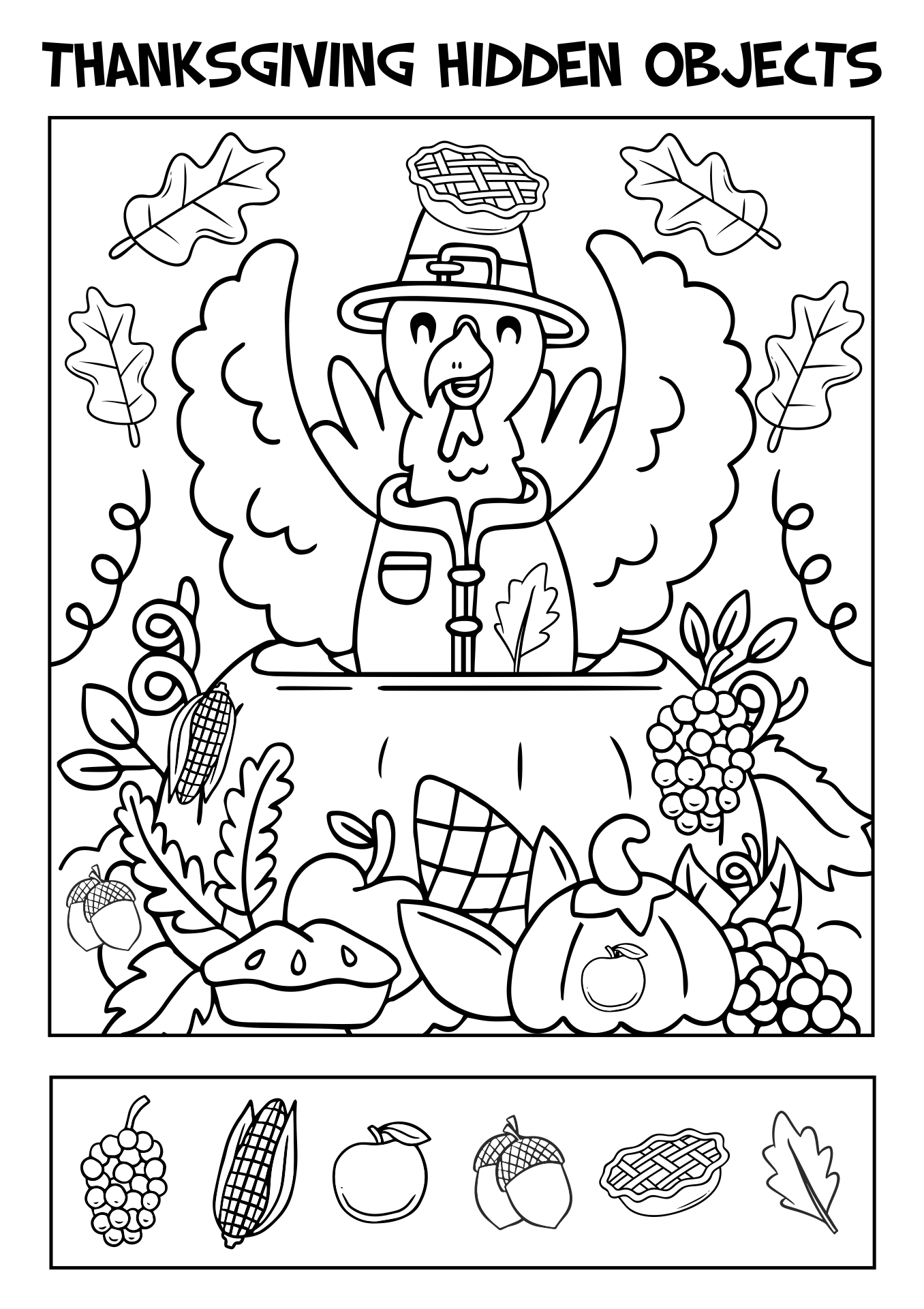 4 Images of Printable Thanksgiving Hidden Object Games