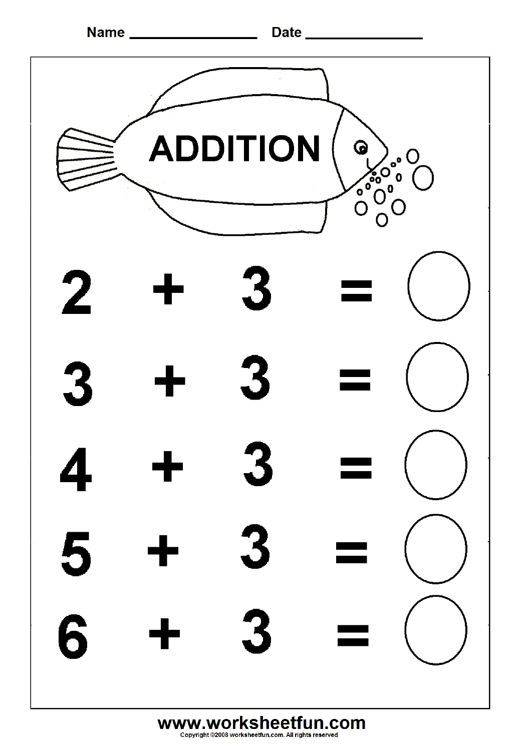 7 Images of Free Printable Preschool Addition Worksheets
