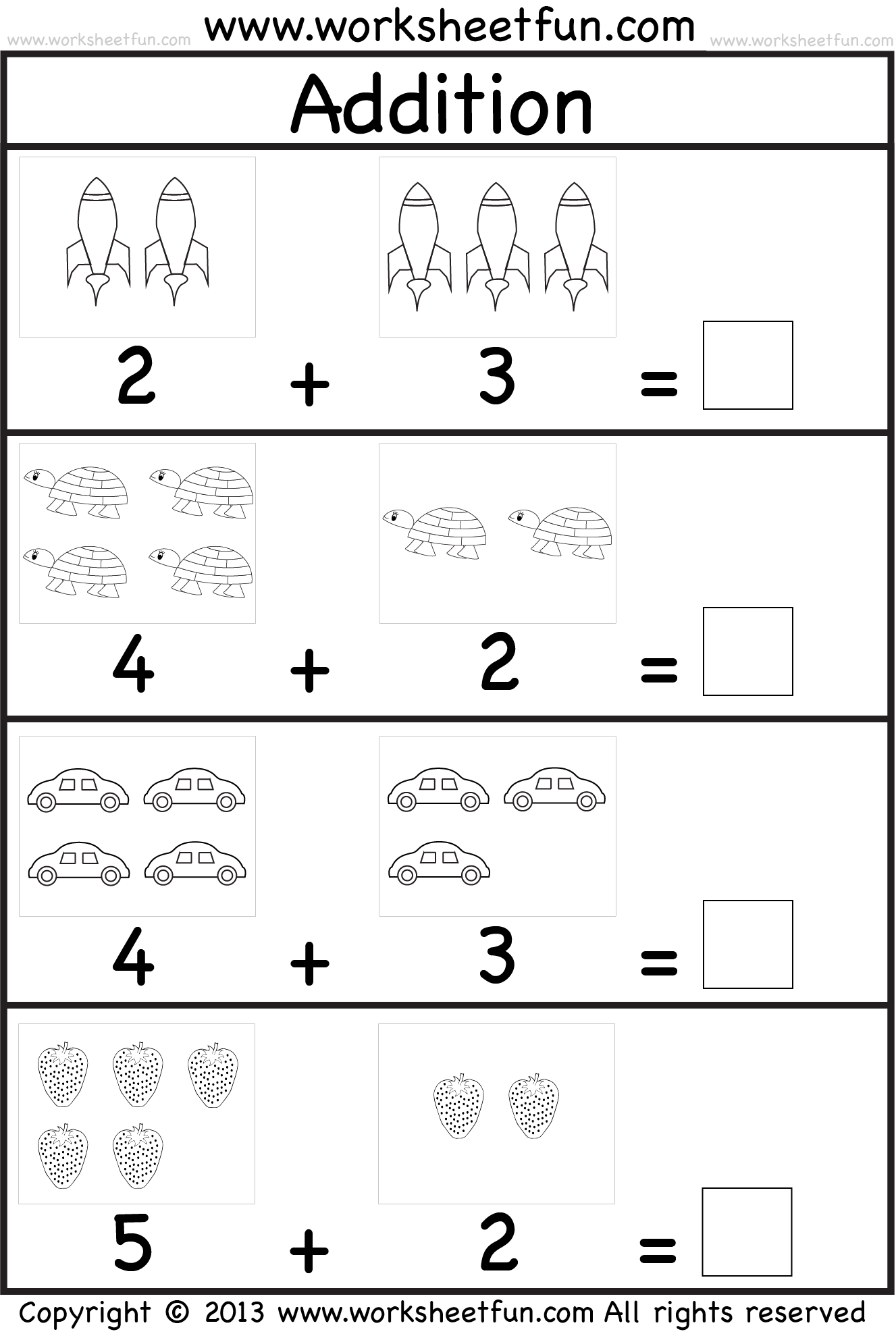 math worksheet : addition worksheets for preschool with pictures  spelling worksheets : Fun Kindergarten Math Worksheets