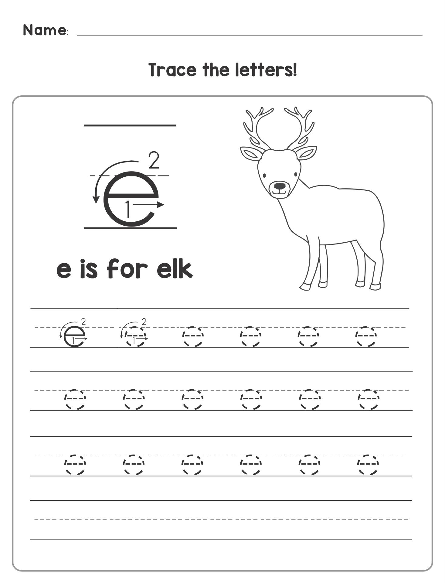 Printable Letter E Worksheets